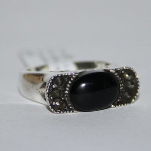 Sterling silver onyx and Marcasite ring NWT size 5